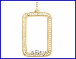 10K Yellow Gold 1 Oz Coin Diamond For Fortuna Bar Bezel Pendant 3 1/2 Ct 2.4