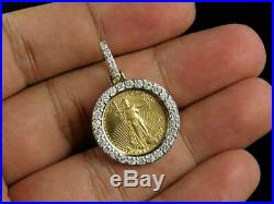 10K Yellow Gold Finish 1/2 Ct Diamond Statue of Liberty Lady Coin Charm Pendant