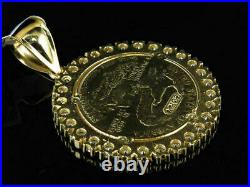 10K Yellow Gold Finish Statue of Liberty Lady Coin 1.5 Inch 3.0 Ct Charm Pendant