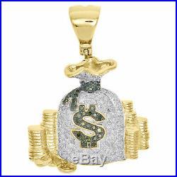 10K Yellow Gold Green Diamond Money Bag Stacked Coin Pendant 1.45 Charm 2.50 CT