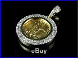 10K Yellow Gold Over Coin Lady Liberty 3 CT Round Diamond Pendant Charm Unisex