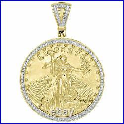 10K Yellow Gold Over Diamond Lady Liberty Medallion Pendant 2.1 Men's Charm 3Ct