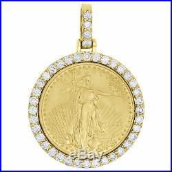 10K Yellow Gold Over Round Cut Diamond American Eagle Liberty Coin Pendant 0.75