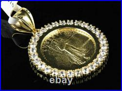 10K Yellow Gold Over Statue of Liberty Lady Coin 1.5 Inch 3.0 Ct Charm Pendant
