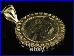 10K Yellow Gold Over Statue of Liberty Lady Coin Charm Pendant 1.5 Inch 3 Ct