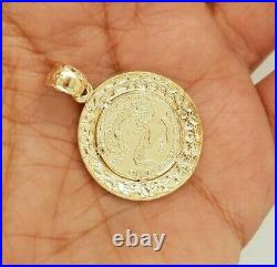 10K Yellow Gold Walking Liberty Coin Pendant Round Nugget Diamond Cut 3.2 g 0.9