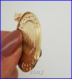 10K Yellow Gold Walking Liberty Coin Pendant Round Nugget Diamond Cut 5.4 g 1.2
