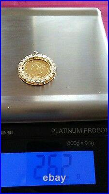 $ 10 dollar Liberty head gold coin in 14kt gold bezel mount-26.2 grams