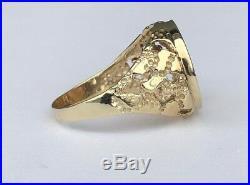 10k Gold Bezel Set Nugget Ring With 1/10 Oz Krugerand Gold Coin
