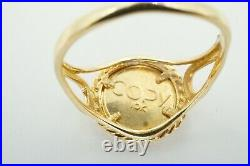 10k Yellow Gold Panda Coin Copy Rope Design Ring Size 7