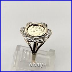 10k Yellow Gold Round Panda Coin with. 04 Ct Tw Diamond Ring Size 7 3/ 4 3 Gr