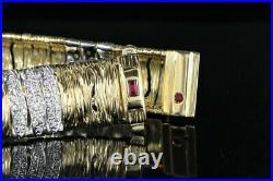 $11,000 Roberto Coin 18K Yellow White Gold Diamond Ruby Elephant Skin Bracelet