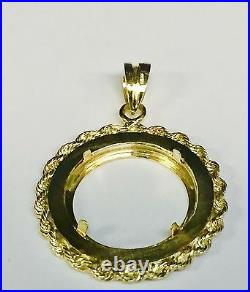 14KT Solid Yellow Gold GREEK KEY ROPE PENDANT for 1/4oz. American Eagle Coin