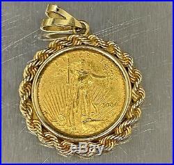 14K 2000 1/4 Oz $10 Eagle Coin Walking Liberty Pendant Yellow Gold
