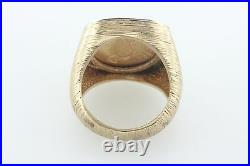 14K Gold 0.20ct Diamond Men's Ring 1915 $2.5 Liberty Indian Head Coin Sz 8.5