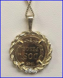 14K Gold 17MM COIN PENDANT with a 22K MEXICAN DOS PESOS Coin