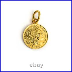 14K Gold Alexander the Great Coin Pendant Ancient Greek Jewelry