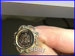 14K Gold Ladies 19 MM COIN RING with a 22K MEXICAN DOS PESOS Coin