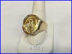 14K Solid Yellow Gold Mens 25MM COIN RING with a 22K 1/4 OZ AMERICAN EAGLE COIN