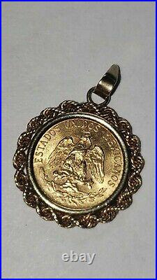 14K Yellow Gold 14MM Coin Charm Pendant with a 22K MEXICAN DOS PESOS Coin