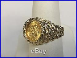 14K Yellow Gold 15 MM COIN RING with a 22K MEXICAN DOS PESOS Coin
