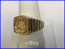 14K Yellow Gold 17 MM COIN RING with a 22K MEXICAN DOS PESOS Coin