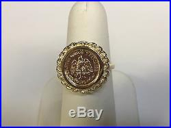 14K Yellow Gold 18 MM COIN RING with a 22K MEXICAN DOS PESOS Coin