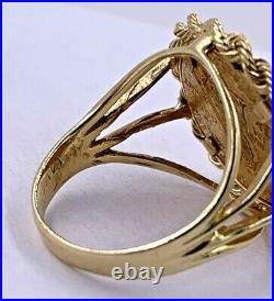 14K Yellow Gold 1915 $2 1/2 Rope Edge Quarter Eagle Coin Ring