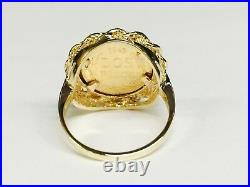 14K Yellow Gold 19 MM COIN RING with a MEXICAN DOS PESOS Coin size 7