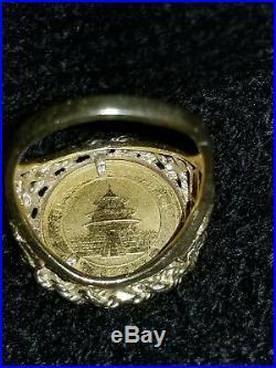 14K Yellow Gold 1/20 Ounce Panda 5 Yuan Coin Ring Size 6.5 Fine Estate Jewelry
