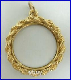14K Yellow Gold 20.7mm Coin Holder Rope Charm Pendant 28mm 4.8g M751