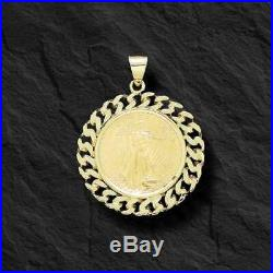 14K Yellow Gold Curb Chain Link FRAME PENDANT for 1/2 OZ US American Eagle Coin