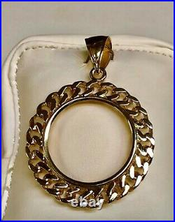14K Yellow Gold Curb Chain Link FRAME PENDANT for 1 OZ US American Eagle Coin