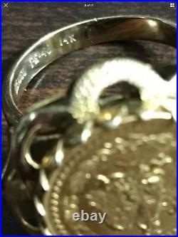 14K Yellow Gold LADIES Ring With 1945 22k Solid Gold Mexican COIN DOS PESOS 7.6g