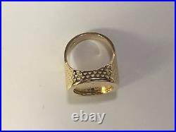 14K Yellow Gold Men's 20 MM COIN RING mounting only for 1/10oz. US coin