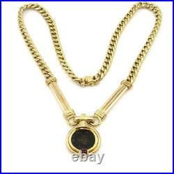 14K Yellow Gold Natural Ruby Necklace Constantine Ancient Roman Coin