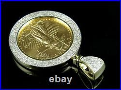 14K Yellow Gold Over Lady Liberty Coin Pave 4.00CT VVS1 Diamond Charm Pendant