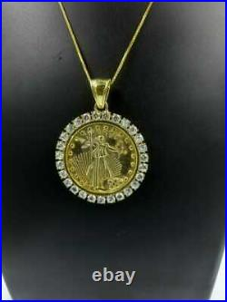 14K Yellow Gold Over Statue of Liberty Lady Coin Charm Pendant 2Ct Round Diamond