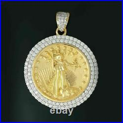 14K Yellow Gold Over Statue of Liberty Lady Coin Charm Round Cut Diamond Pendant