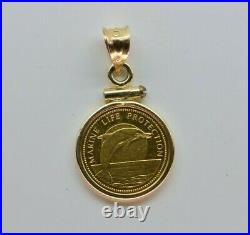 14K Yellow Gold Republic of Palau 1998 Gold Coin Pendant, Dolphin and Mermaids