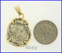 14K Yellow Gold with Sterling Silver Spanish Coin Reproduction Pendant