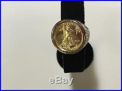 14 KT Solid Yellow Gold Mens Ring 25MM for 1/4oz US LIBERTY COIN-mounting only