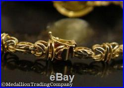 14k 1989 Persian Cat Isle of Man Coin Bracelet. 999 24k Gold Byzantine Link 13gr
