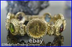 14k 22k Gold 2000 Liberty American Eagle $5 Coin Gemstone Cabochon Bracelet AE