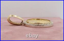 14k/22k Solid Yellow Gold $50 1 Oz Gold Coin in Diamond Bezel Pendant 47.5 Gr