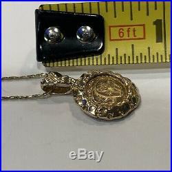 14k Chain & 14K Pendant COPY Panda Coin 1983 Yellow Gold Necklace