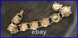 14k GOLD COIN STYLE BRACELET 7-3/4 LONG 3/4 WIDE LIGHTWEIGHT SAFETY CHAIN