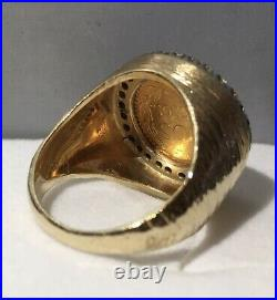 14k Gold 17mm Coin Ring with a 22k Mexican Dos Pesos Coin with. 50 tcw D, Sz 10