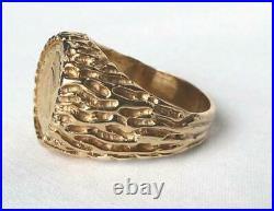 14k Gold Mens 1874 One Dollar $1 Princess Head Coin Ring Nugget Setting Sz 9.75