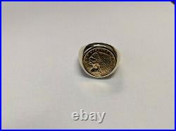 14k Gold Ring With Rare $2.5 1909 Gold Indian head Coin. Heavy 18.3 grams